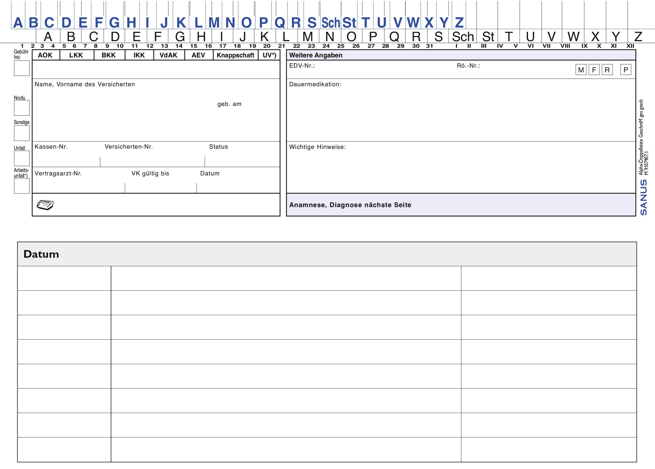 SANUS - Patientenkarteikarten - Patientenkarteimappen